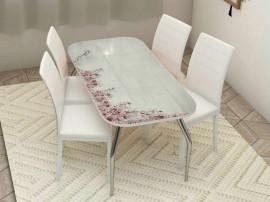 """Стол обеденный, стекло """"САКУРА"""" основание раскладное, стул обеденный """"Степ"""" каркас белый, кожзам белый. 4 шт."""
