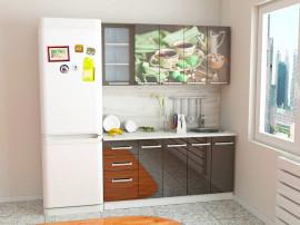 """Кухня с фасадами МДФ """"Чёрный чай 1,6 м."""""""