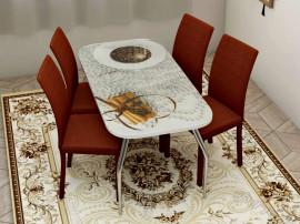"""Стол обеденный, стекло """"КОРИЦА"""" основание раскладное, стул обеденный """"Степ"""" каркас коричневый, кожзам коричневый, 4 шт."""