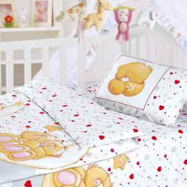 Комплект постельного белья детский в кроватку бязь-люкс на резинке Облачко (Влюбленные медведи)
