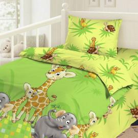 Комплект постельного белья детский в кроватку бязь-люкс на резинке Облачко (Джунгли)