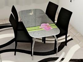 """Стол обеденный, стекло """"ОРХИДЕЯ"""" основание раскладное, стул обеденный """"Степ"""" каркас чёрный, кожзам чёрный, 4 шт."""