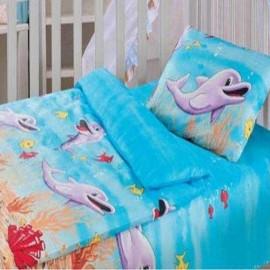 Комплект постельного белья детский в кроватку бязь-люкс на резинке Облачко (Дельфины)