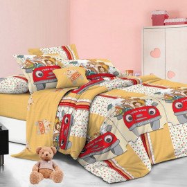 """Комплект постельного белья детский 1,5 спальный поплин """"Клео"""" (Звери на машине, РD-017)"""