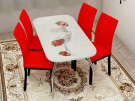 """Стол обеденный, стекло """"ВИКТОРИЯ"""" основание раскладное, стул обеденный """"Степ"""" каркас чёрный, кожзам красный. 4 шт."""