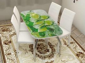 """Стол обеденный, стекло """"ЛАЙМ"""" основание раскладное, стул обеденный """"Степ"""" каркас белый, кожзам белый, 4 шт."""