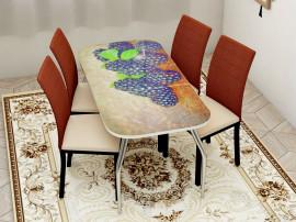 """Стол обеденный, стекло """"ЕЖЕВИКА"""" основание раскладное, стул обеденный """"Степ"""" каркас чёрный, кожзам сид. бежевый, спинка коричневая, 4 шт."""